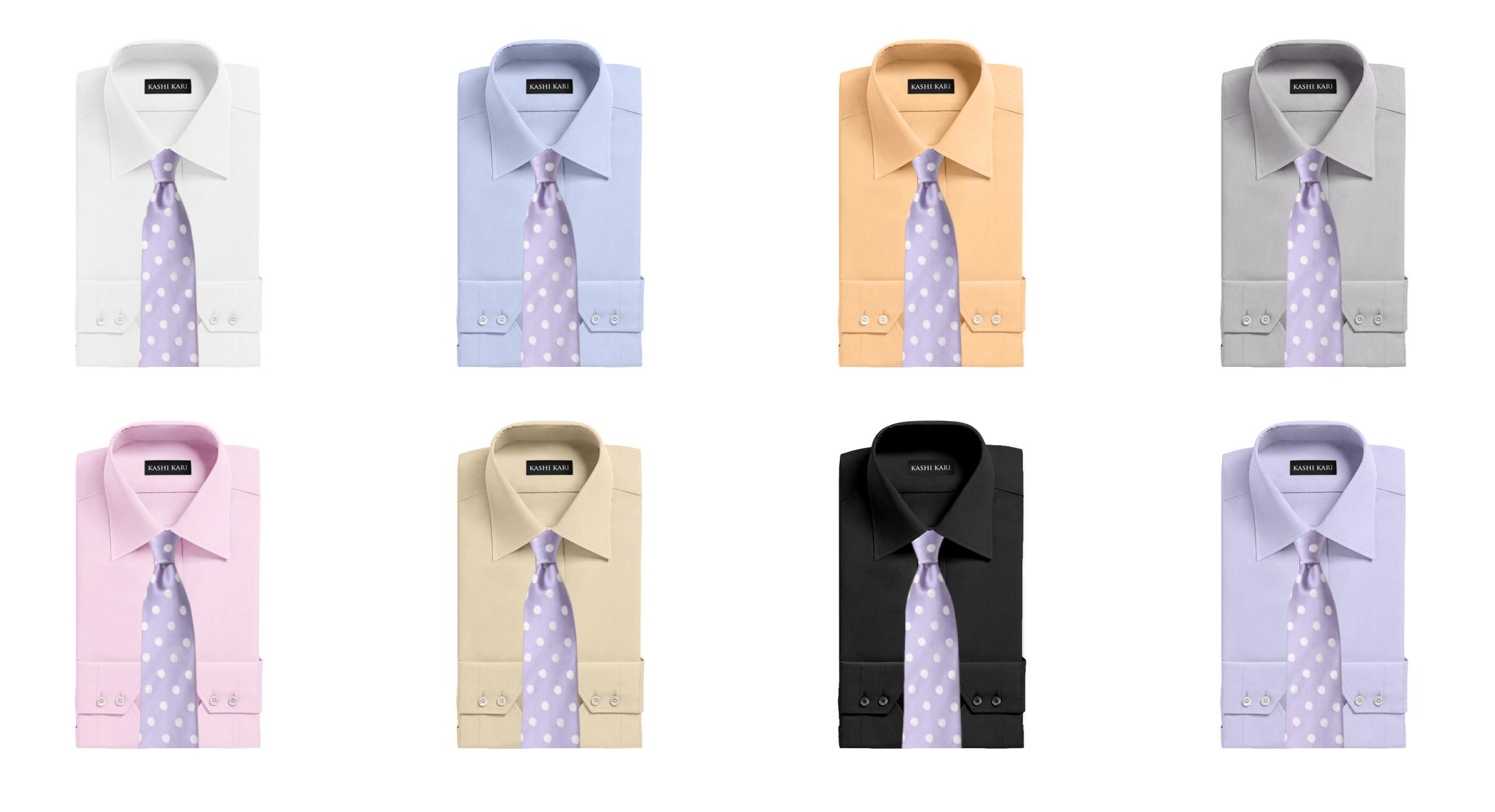 パープルネクタイと無地シャツの組み合わせ