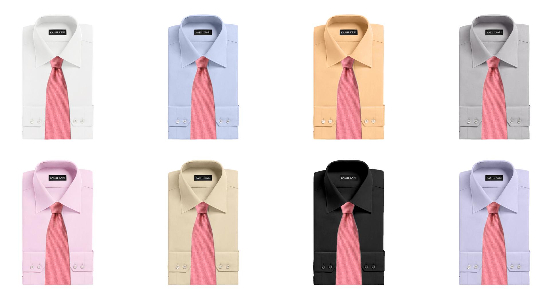 ピンク色のネクタイと無地シャツの組み合わせ