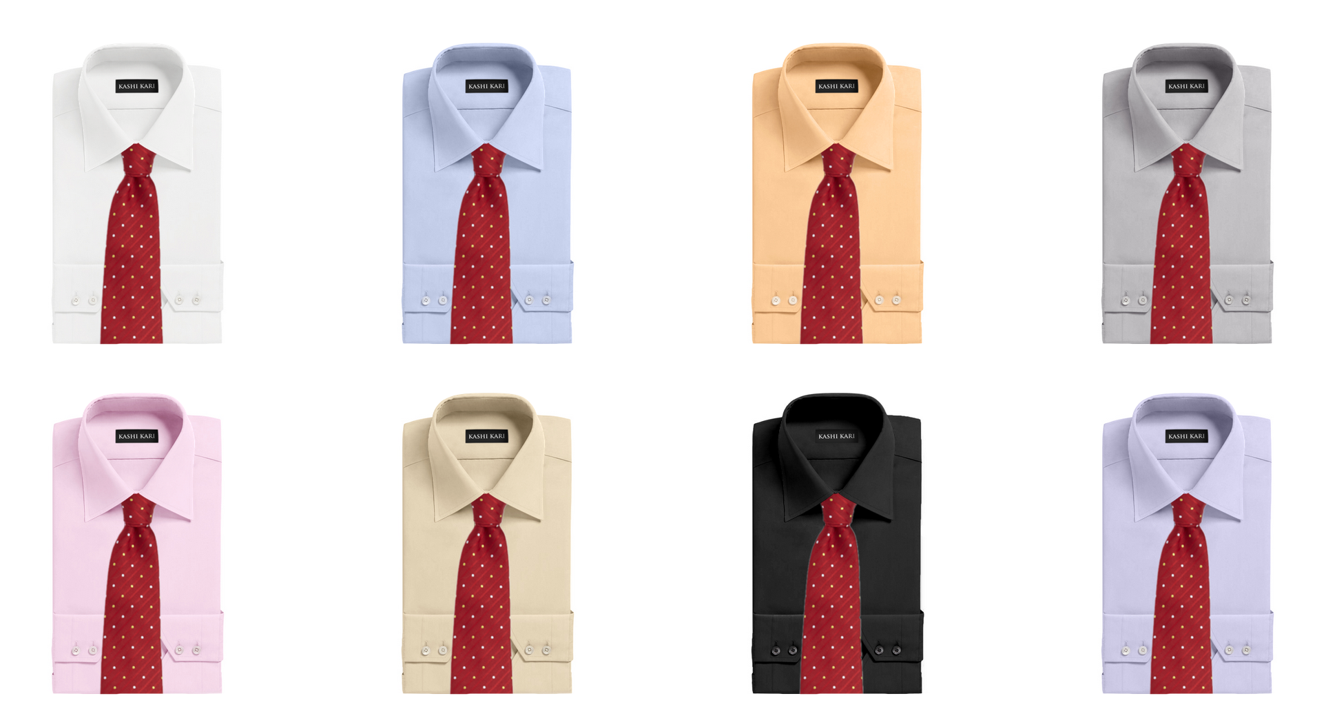レッド(赤)ネクタイと無地シャツの着こなし・組み合わせ