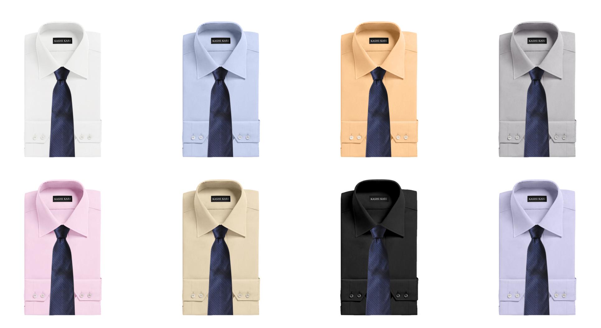 ネイビーのネクタイと無地シャツの組み合わせ・コーディネート
