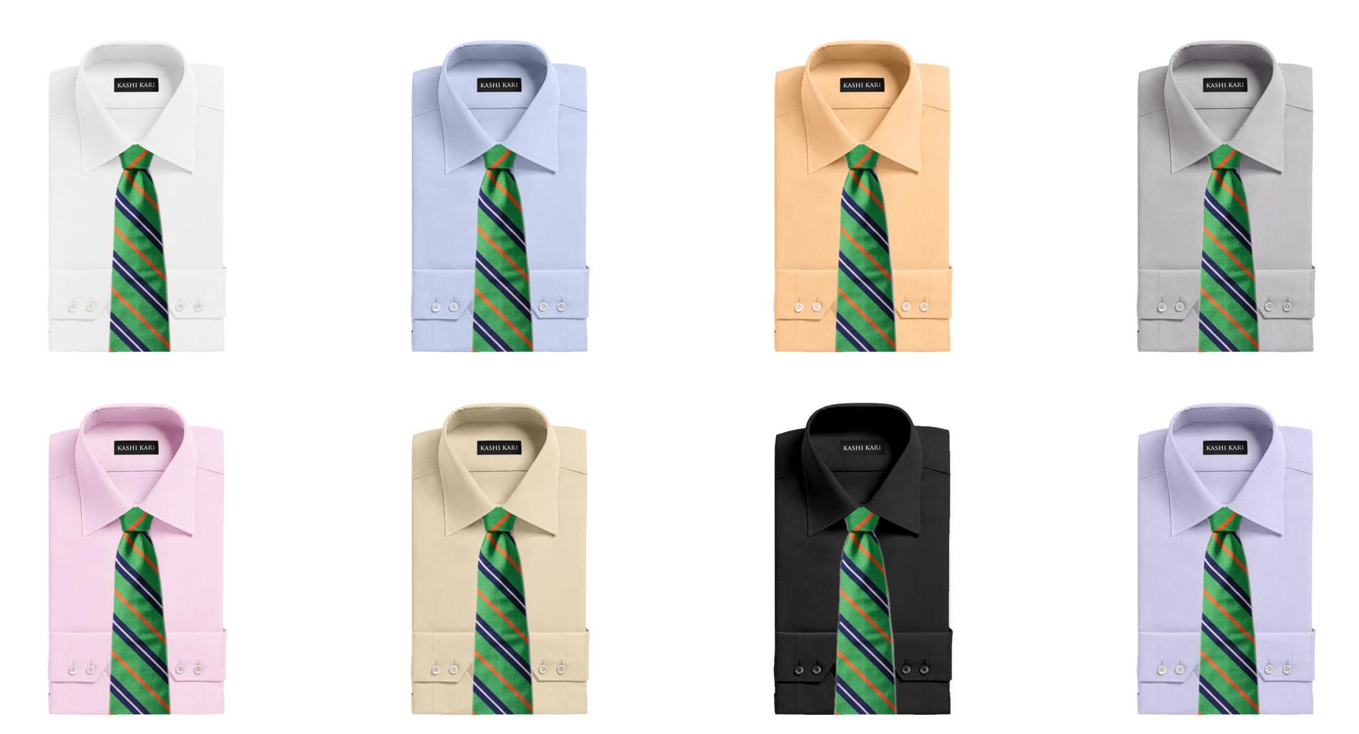 グリーン系のネクタイと無地シャツの組み合わせ・コーディネート
