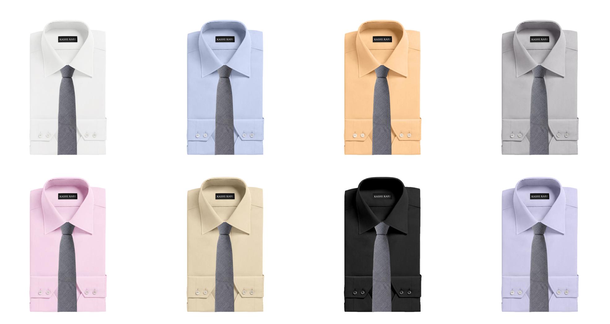 グレー系ネクタイと無地シャツのコーディネート・組み合わせ