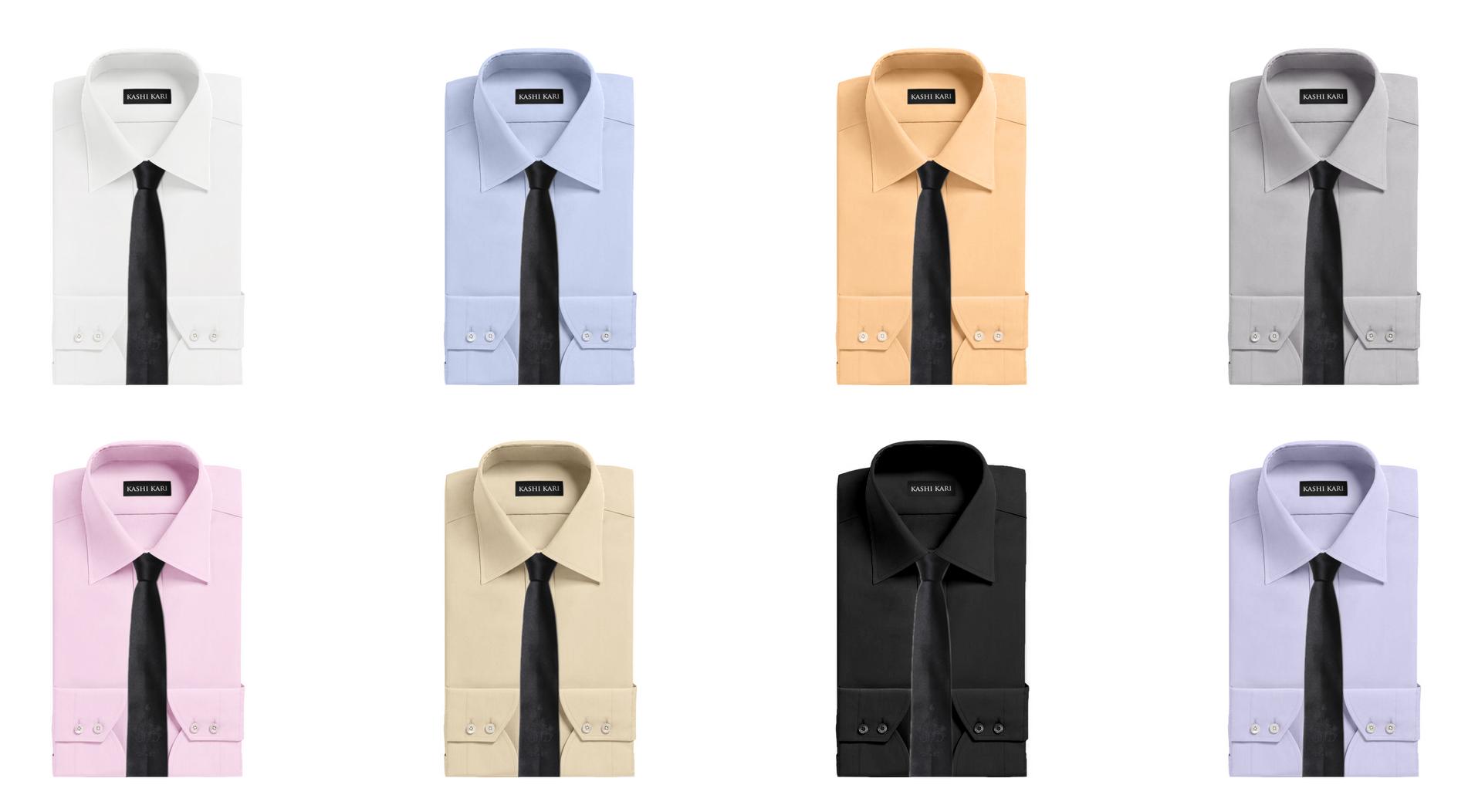ブラック(黒)ネクタイと無地シャツのコーディネート・組み合わせ