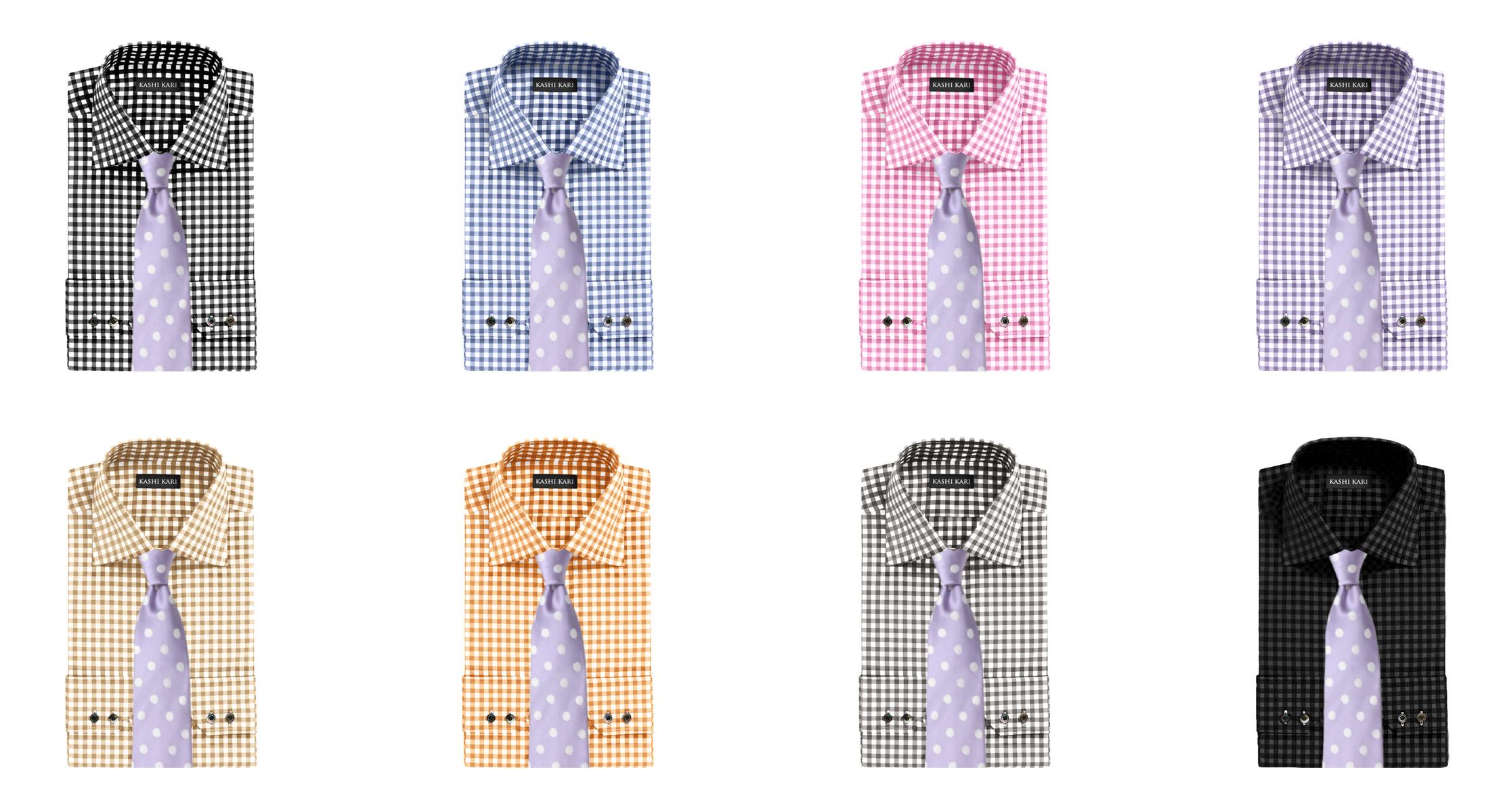 パープルドットネクタイとギンガムシャツの組み合わせ