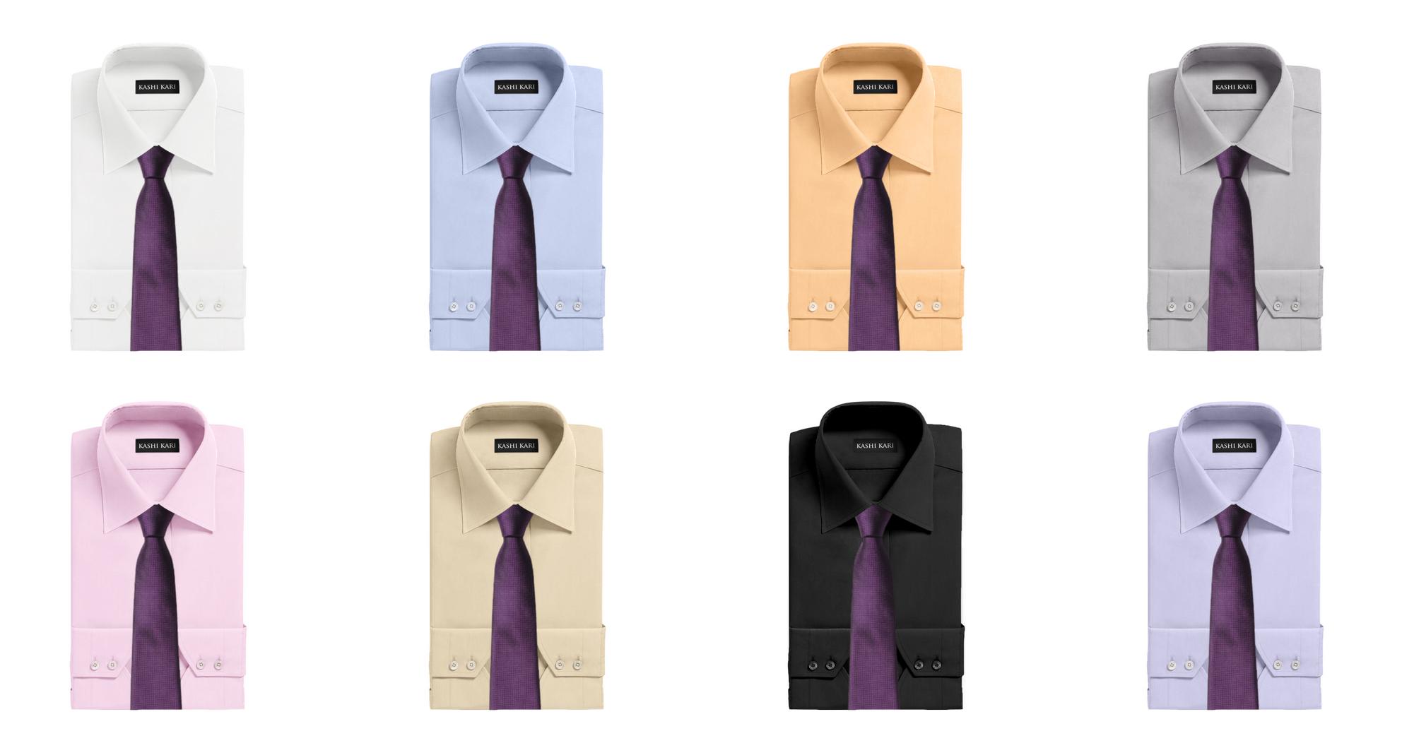 濃いめのパープルネクタイと無地シャツの組み合わせ