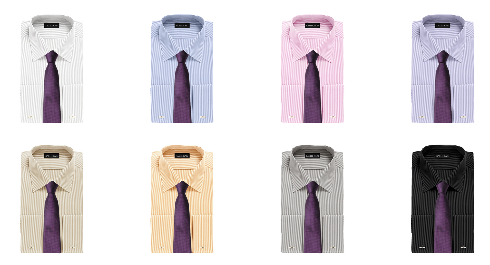 濃いめのパープルネクタイとストライプシャツの組み合わせ