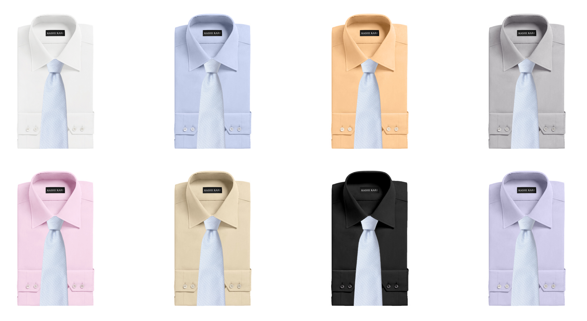 サックス色のネクタイと無地シャツの組み合わせ