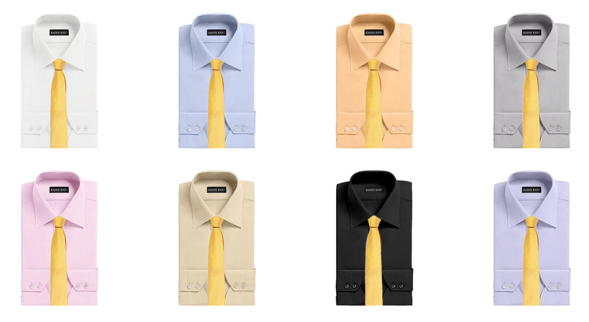 イエロー(黄色)ネクタイと無地シャツの組み合わせ・コーディネート