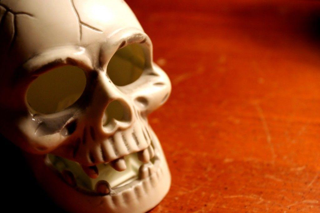 Plastic skull on wood table.