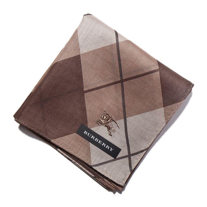2014AW 新作 新品 バーバリー ロゴ入り アーガイル柄 ハンカチ 33943 ブラウン系 メンズ レディース