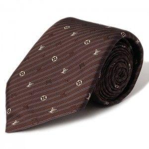 ルイヴィトン×ブラウン小紋柄ネクタイ