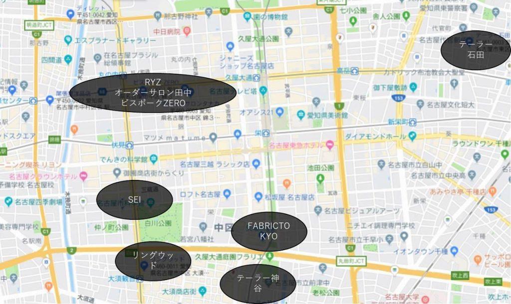 栄のオーダースーツマップ